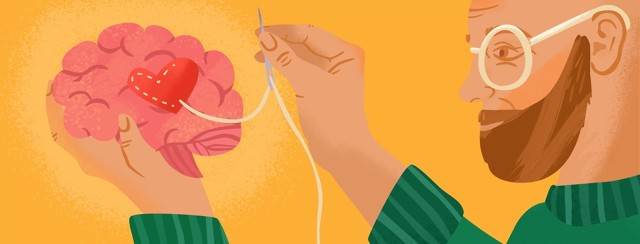 sewing a heart into a brain