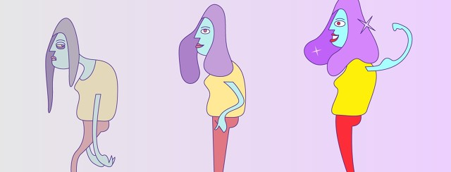 Three version of a woman just barely getting by, struggling, hunched over, okay, dull gray, tired, exhausted, to thriving