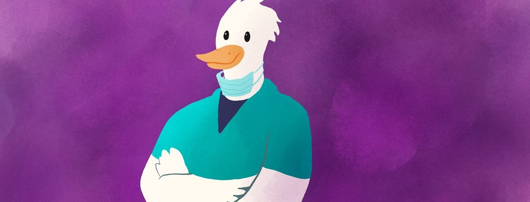 duck wearing surgeon clothing