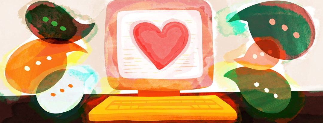 A computer screen shows a large heart while dialogue bubbles are sprouting from the screen