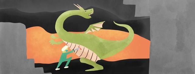 surgeon slaying a dragon