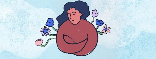 flowers surrounding woman's armpits