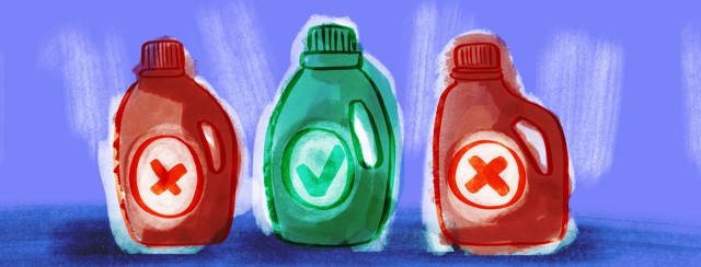 Three bottles of laundry detergent. Two bottles are red with x's on them, the middle bottle in green with a check mark.