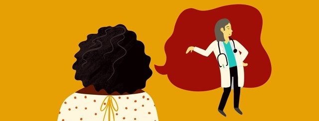 adult female talks to her dismissive doctor
