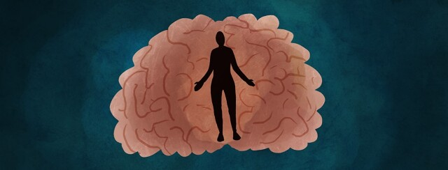 silhouette of a person standing in the middle of a brain