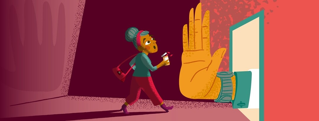 a woman with a bottle of pills in her hand is stopped by a giant doctor's hand blocking a doorway