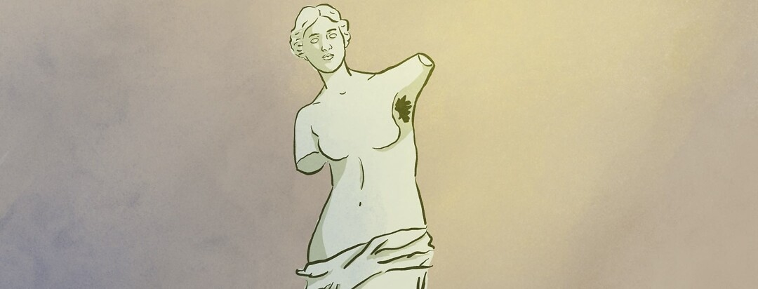 armless statue with armpit hair