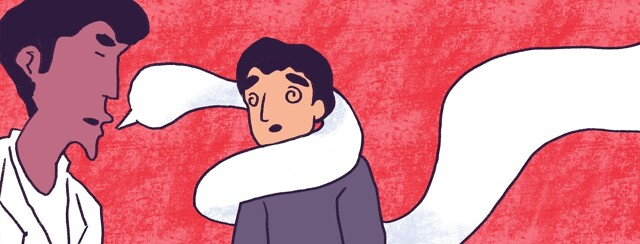 a doctor's speech bubble wrapping around a confused patient