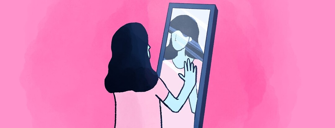 a woman standing in front of a mirror with her hand on her reflection's hand