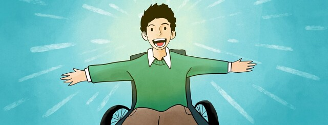 person full of joy in a wheelchair