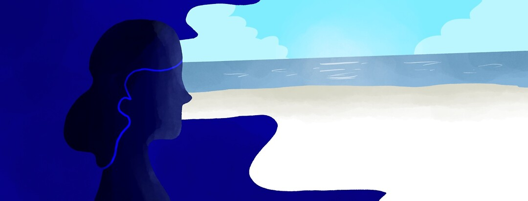 woman dreaming she is at the beach