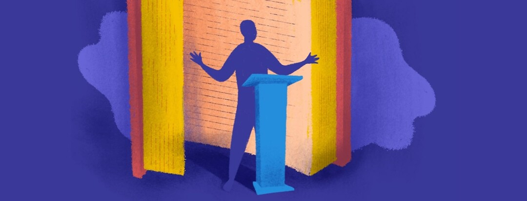 A person stepping out of a larger-than-life open book to speak at a podium