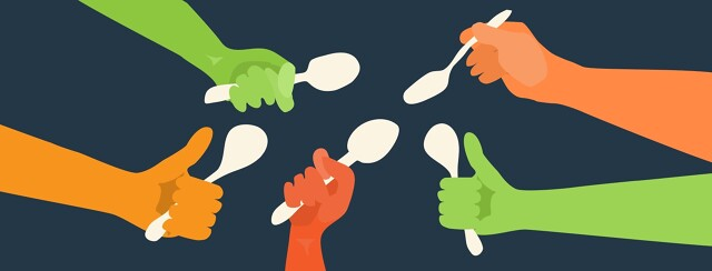 hands holding spoons