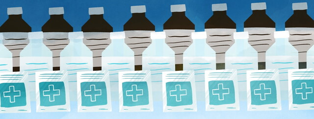 three rows of medical supplies a row or rubbing alcohol, peroxide, and bandages