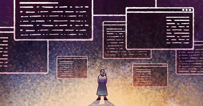 A woman looks up at a mass of online information in different web browsers.